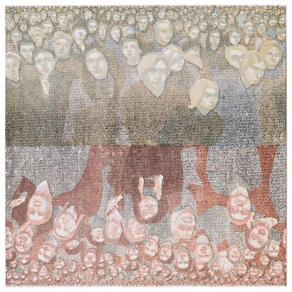"""Mal hoch, mal runter"" 2004 Menschenmengeserie Papier, Lithografie, 50 x 50 cm"